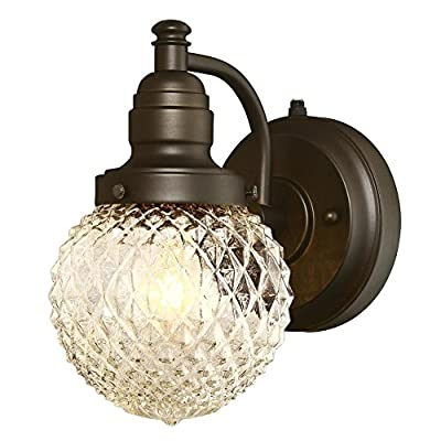 Westinghouse 6313700 Eddystone One-Light Outdoor Wall Fixture with Dusk to Dawn Sensor with with Clear Diamond Cut Glass, Oil Rubbed Bronze