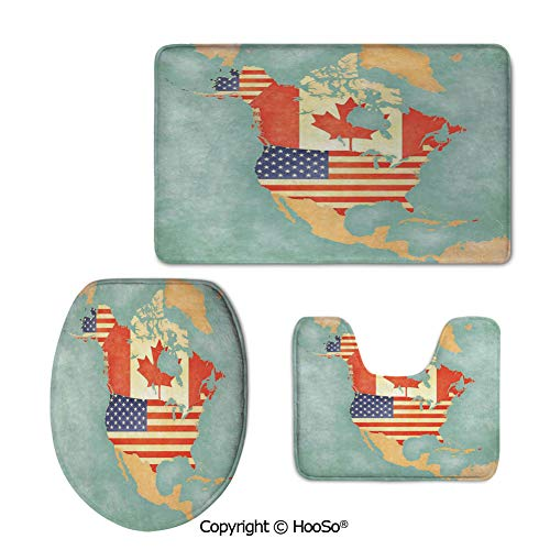 Rug 3-Piece Washable Bathroom Rug Set, Machine Washable Toilet seat pad, Perfect Plush Mats for Tub Shower,Wanderlust Decor,States and Canada Outline Map of The North