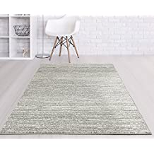 Adgo Ravenna Collection Modern Contemporary Elegant Stylish Striped Design Live Vivid Color Jute Backed Area Rugs Tall Pile Height Soft and Fluffy Indoor Floor Rug, Grey Ivory, 5' x 7'