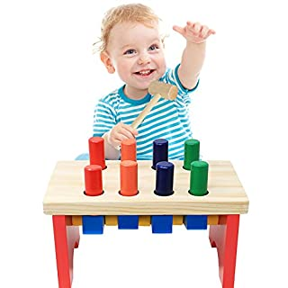 NEOWOWS Pounding Bench Wooden Toy with Mallet Deluxe Early Educational Toys for Age 1, 2, 3, 4, 5, 6 Years Old Boys Girls Children Toddlers Kids