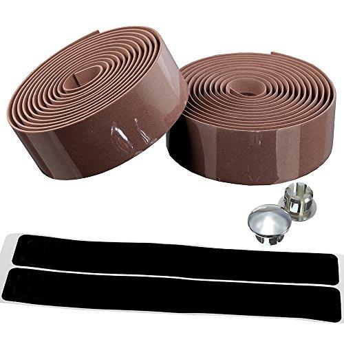 AmazingEC Cork Handlebar Tape Wrap Road Racing Bike Bar Wrap with End Plugs And Self-Adhesive Strips Brown ()