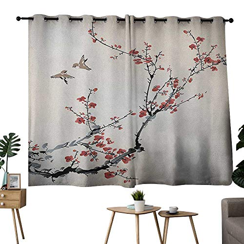 NUOMANAN Blackout Curtains 2 Panels Nature,Cherry Branches Flowers Buds and Birds Asian Style Artwork with Painting Effect, Black Burgundy Curtain Panels for Bedroom & Kitchen,1 Pair ()
