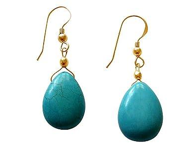 Boucle d'oreille femme turquoise