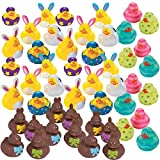 48 Count Easter Rubber Ducks Bulk Variety Pack - Kids Easter Egg Hunt Prizes - Easter Basket Fillers - Spring Fling Ducky Party Favors Giveaways - Assorted Bunny Rubber Duckies