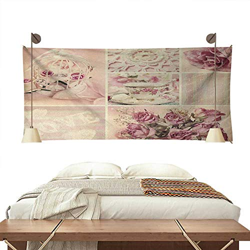 (ScottDecor Shabby Chic Pattern Tapestry Grandmother Mothers Day Vintage Themed Lace Cage Cups Flowers Gorgeous Tapestry 60W x 51L InchLilac Light Pink and White)