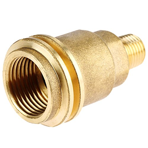 Dreld QCC1 ACME Nut Propane Gas Fitting Adapter with 1/4 Inch Male Pipe Thread, Brass
