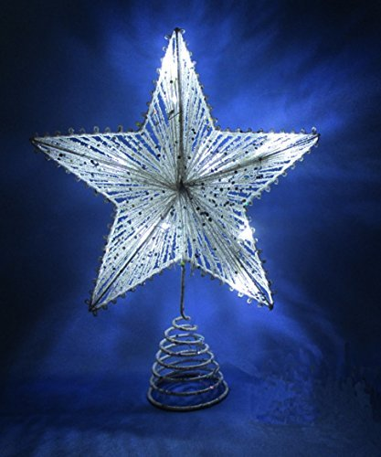 10 white springy star with white led lights christmas tree top star christmas