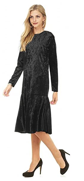 1920s Day Dresses, Tea Dresses, Mature Dresses with Sleeves Tabeez Womens Long Sleeve Below Knee Ruffle Hem Crushed Velvet Midi Dress $29.99 AT vintagedancer.com
