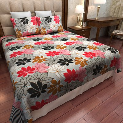 Home Candy 144 TC Multi Flowers Cotton Double Bed Sheet with 2 Pillow Covers