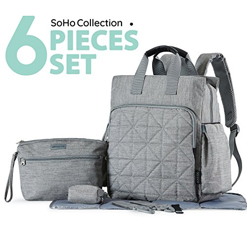 SoHo diaper bag backpack Kenneth 6 pcs nappy tote stylish bag for ... 956c820a56c5b