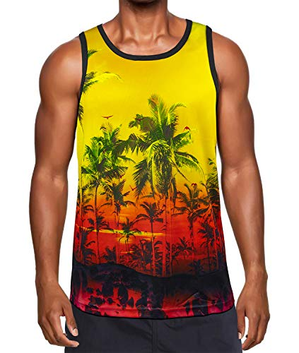 Kayolece Coconut Tree Tank Tops 3D Unisex Palm Pattern Printed Graphic Sleeveless Tee Shirts for Men and Women S (Tree Palm Pattern)