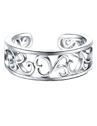 3djewels Women's 14K White Gold Fn .925 Silver BoRuo Flower Hawaiian Lea Adjustable Toe Ring