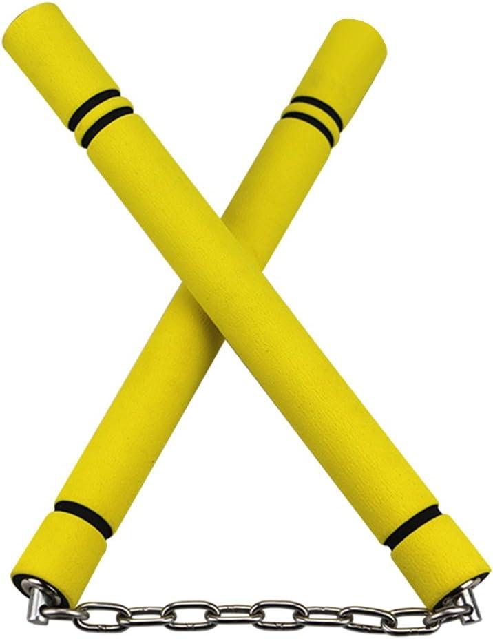 Redcolourful Double Schlagstock,Sicherheitsschaum Nunchakus Sponge mit Edelstahlkette/ Erwachsene Modelle 28cm gelb