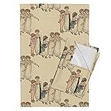 Roostery Kate Greenaway Children Illustrations Dance Regency Sweet Nursery Tea Towels Kate Greenaway Dance by Peacoquettedesigns Set of 2 Linen Cotton Tea Towels