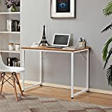 "Need Small Desk/Small Computer Desk/Small Writing Desk 39.4"" Width Teak Color Desktop & Warm White Frame"