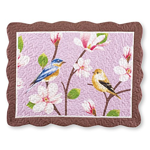 Collections Etc Birds & Magnolia Floral Garden Lavender Pillow Sham from Collections Etc