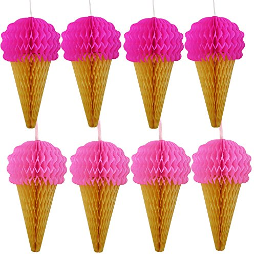 Pink Hanging Honeycomb Ice Cream Decorations - Pack of 8 - Summer Ice Cream Party Hanging Tissue Paper Decorations Are Great For Parties And Events -