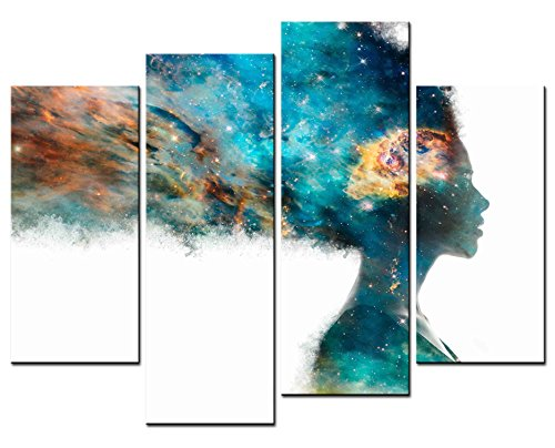 Modern Home Decoration - Figure Paintings - Green Girl Artistic Expression Colorful Brain And Bright Universe Picture - Print on Canvas for Living Room 4 Pieces Wall Art Decor