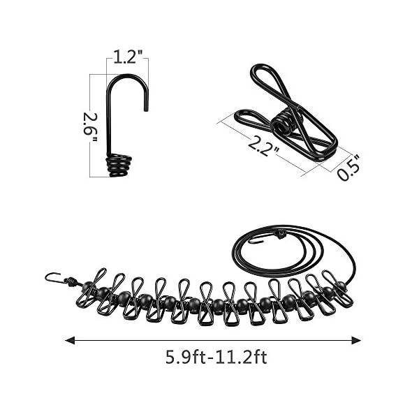 51UmCLCVPXL [2 Stück] Wäscheleine,Mopoin Camping Outdoor Wäscheleine mit 12 beschichteten Klammern und Positionierung Schnalle,185…