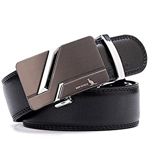 "Men's Belt SAN VITALE Mens Belts Luxury Designer Brand Casual Reversible Buckle with Automatic Ratchet Leather Crystal Wedding for Men 35mm Wide 1 3/8"" Silver Buckle Belt 130cm Plus Size"