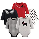 Hudson Baby Baby Infant Long Sleeve Bodysuit 5 Pack, Scottie, 9-12 Months