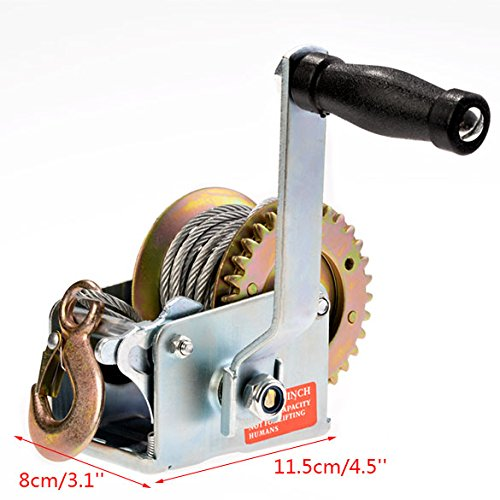 Heavy Duty Hand Winch 600lbs Hand Crank Strap Cable Gear Winch Towing Winches ATV Boat Trailer (US Stock) (Hand Winch)
