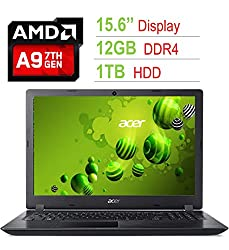 Newest Acer Aspire 15.6-inch HD (1366x768) Laptop PC (7th Gen AMD A9-9420 3.0GHz, 12GB DDR4 2133MHz RAM, 1TB HDD, 802.11ac WiFi, Webcam, HDMI, Bluetooth, Radeon R5 Graphics, USB 3.0, Windows 10)