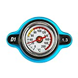 Mrcartool 1.3BAR Car Radiator Cap Cover with Temperature Gauge 0-200 ℃ Meter Industrial Aluminum (1.3BAR, Small Head)
