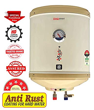 DIGISMART 25 LTR Storage 2 kva 5 Star Geyser with Temperature Meter, ABS TOP Bottom, HD ISI Element Amazon (Ivory)