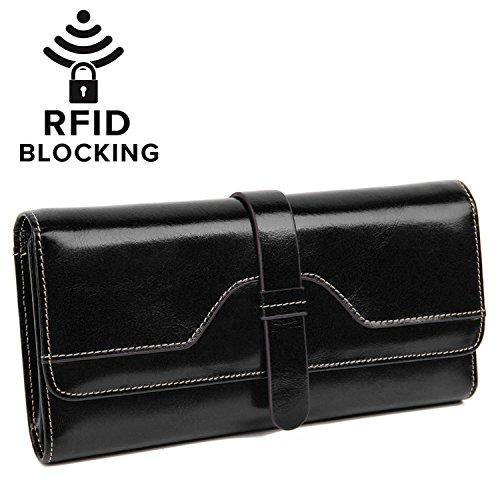 YALUXE Women's RFID Blocking Luxury Leather Trifold Wallet Ladies Clutch Black