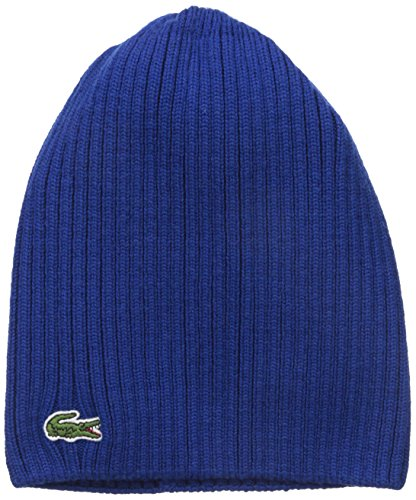 Lacoste Men's Green Croc Ribbed Wool Knit Beanie, Royal, One Size