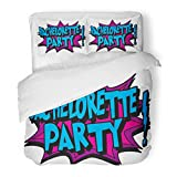 SanChic Duvet Cover Set Bachelor Bachelorette Cartoon Tattoo Comic Sex Decorative Bedding Set with 2 Pillow Shams King Size