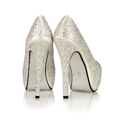 NEW WOMENS/LADIES WEDDING BRIDAL EVENING PARTY PROM HIGH HEEL PLATFORM SHOES Ivory bbbruP