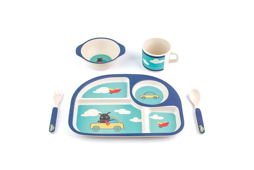 Peterson Housewares BF0263028S 5 Piece Kids Dinnerware Bamboo Fibre Set, Car