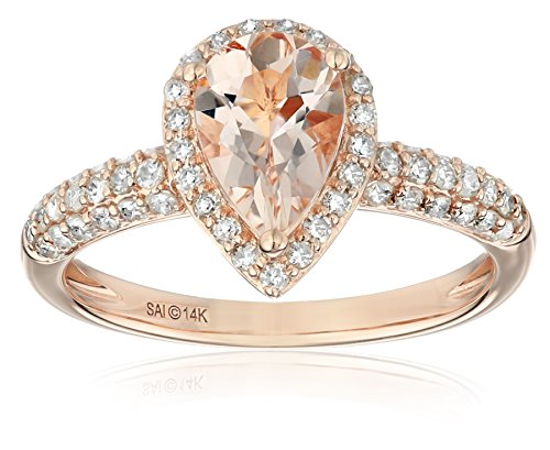 14k Rose Gold Morganite and Diamond (1/2cttw, H-I Color, I2-I3 Clarity) Pear Shape Engagement Ring, Size 7 (Pear Diamond Wedding Ring)