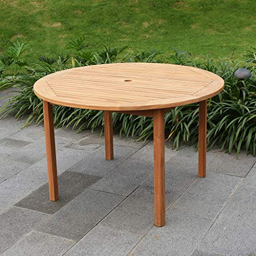 Table Teak Dining Set (Cambridge-Casual AMZ-320668T Arie Teak Round Dining Table)