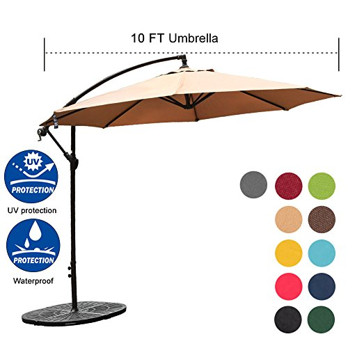 Sundale Outdoor 10FT Offset Umbrella Cantilever Umbrella Hanging Patio Umbrella with Crank and Cross Bar Set, Steel Ribs, Polyester Canopy Shade for Deck, Garden, Backyard, Tan by Sundale Outdoor
