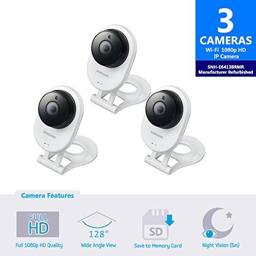 Samsung SNH-E6413BMR SmartCam HD WiFi IP Camera with 16GB microSD Card, Bundle...