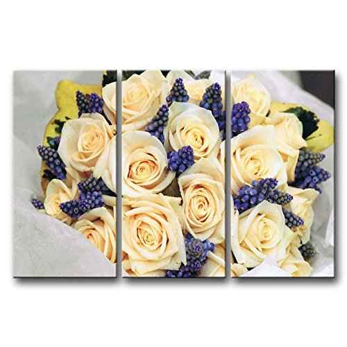 Roses And Grape Hyacinth Bouquet  Paintings Modern