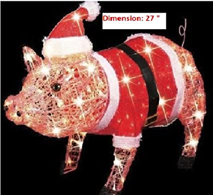 3 d lighted christmas pig holiday outdoor decoration