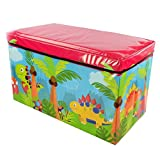 Foldable Large Soft Toy Storage Box for Kids | Wooden Chest Seat for Baby Clothes | Container Book Bench for Boy and Girl | Nursery Trunk | 59x35x30cm | Dino