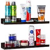 Black Bathroom Shelf Set: High-Gloss Acrylic Shelving. Space Saving, Rustproof & Extra Strong, 15 x 3 inch Floating Shelves (2 pack) - Easy to Wall Mount