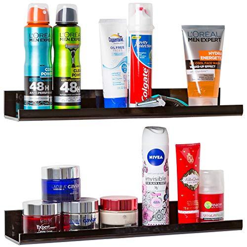 Black Bathroom Shelf Set: High-Gloss Acrylic Shelving. Space