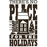 Wall Decor Plus More WDPM2293 There's No Place Like Home for The Holidays Wall Art Vinyl Decal, 23W x 38H, Chocolate Brown, 1-Pack