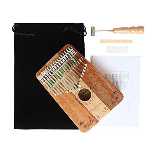 Dilwe Thumb Piano, 17 Key Mahogany Wood Portable Thumb Piano Mbira Traditional Musical Instrument by Dilwe