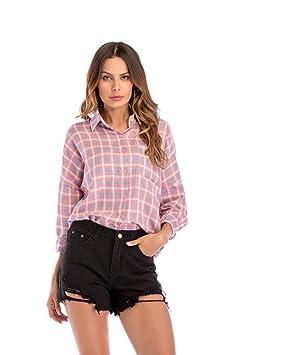 Mujeres manga larga raglán solapa manga raglán camisa a cuadros botón de la moda Tops sueltos