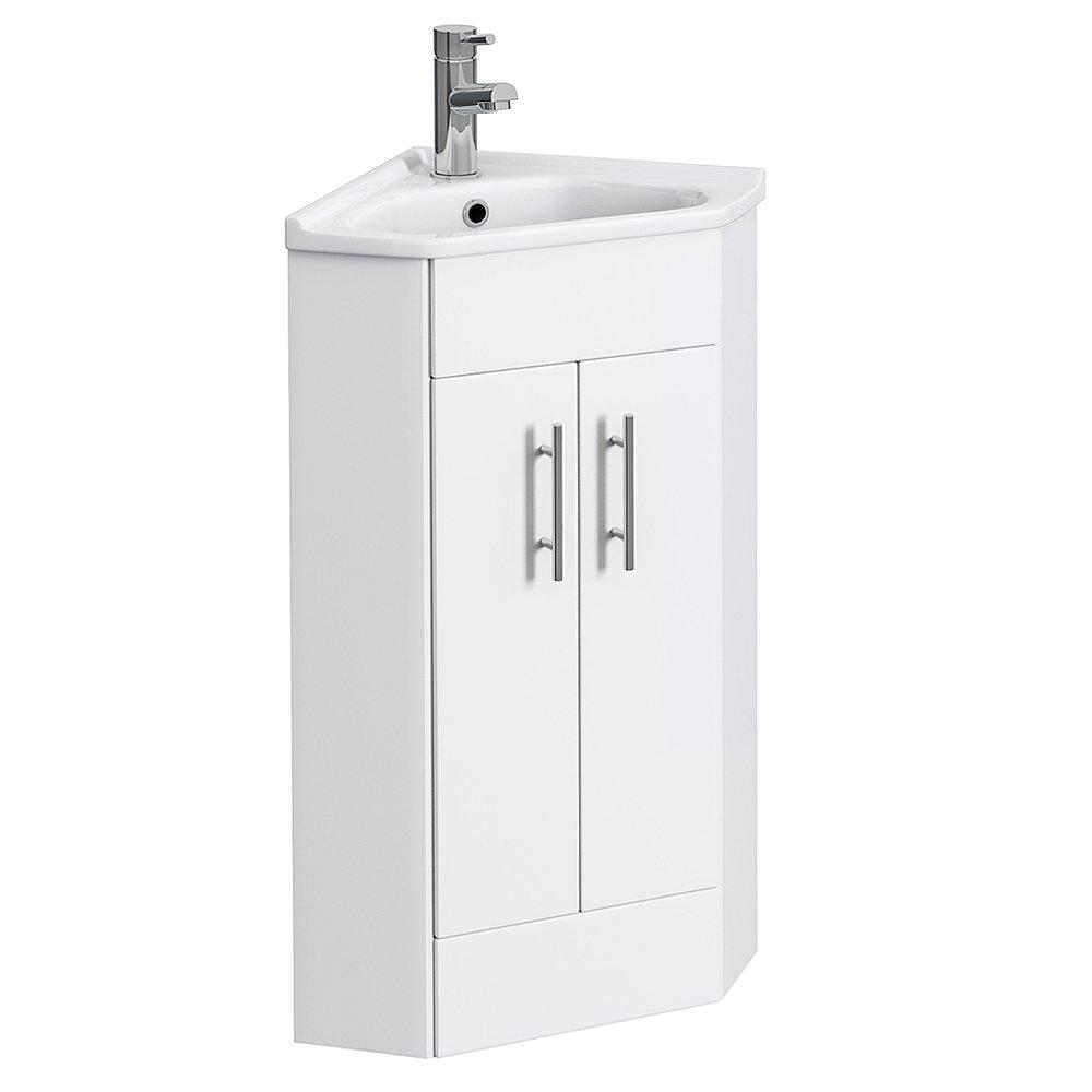 VeeBath High Gloss White Linx Corner Vanity Unit with Basin
