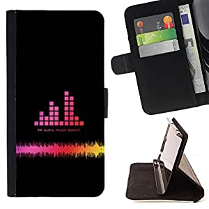 For LG OPTIMUS L90 - Music Bar Graph /Funda de piel cubierta de la carpeta Foilo con cierre magn???¡¯????tico/ - Super Marley Shop -