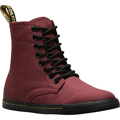 Dr. Martens - Unisex-Child Sheridan J Junior 8 Eye Boot, Size: 3 M US Little Kid / 2 F(M) UK Youth, Color: Cherry Red T Canvas -