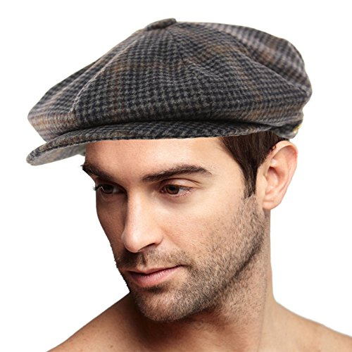 Men's 100% Winter Wool Houndstooth Snap Newsboy Drivers Cabbie Cap Hat Large Navy